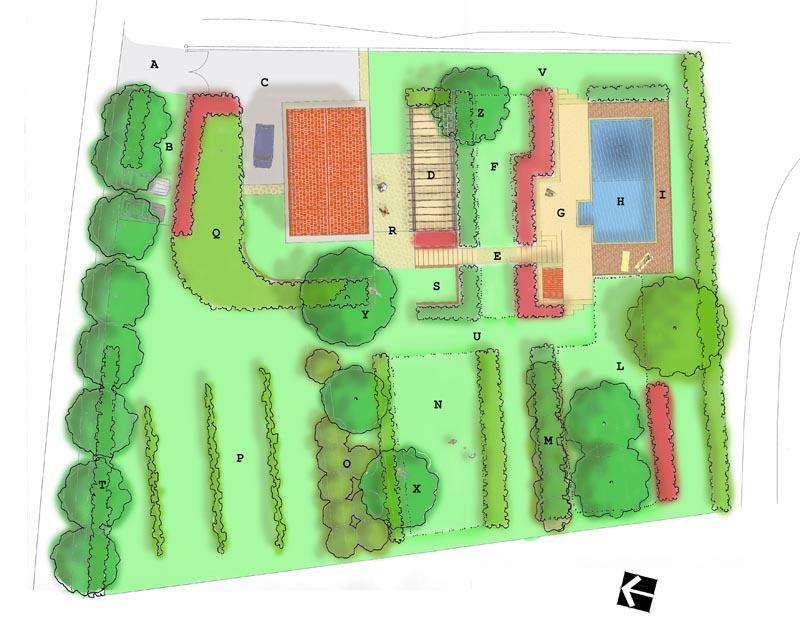Giardino con piscina kepos giardino paesaggio ambiente for Planimetria giardino